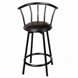 24″ Metal Swivel Black Bar Stool