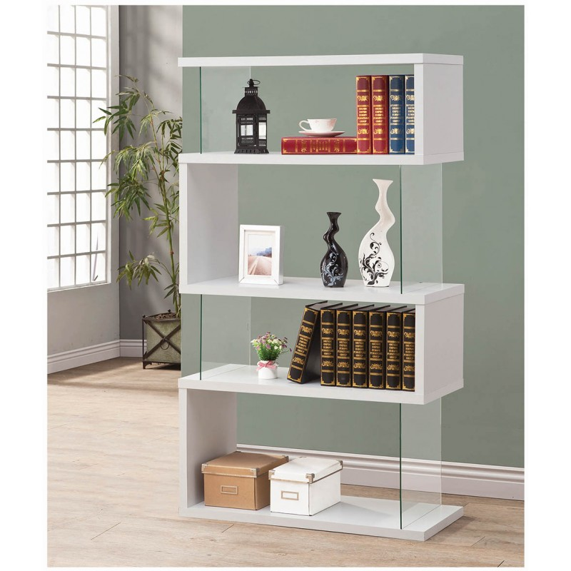 Four tier bookcase finished in white