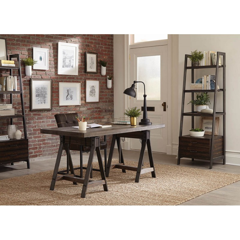 Scott Living Deponte Weathered Gunmetal Adjustable Writing Desk and Tapering Bookcase