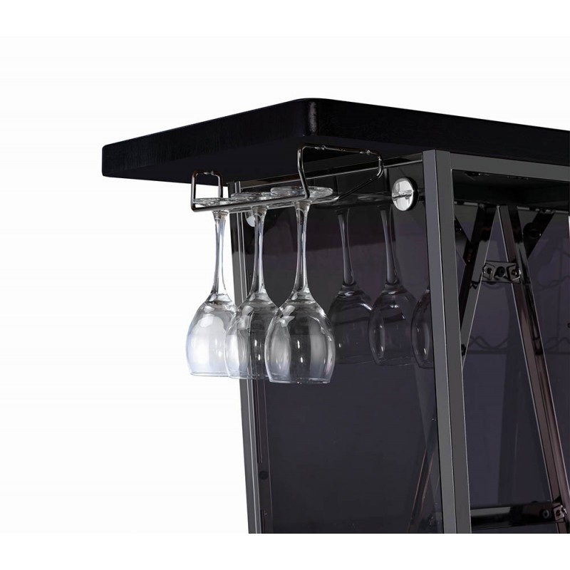 1-Tier Bar Unit Dark Charcoal And Black Nickel