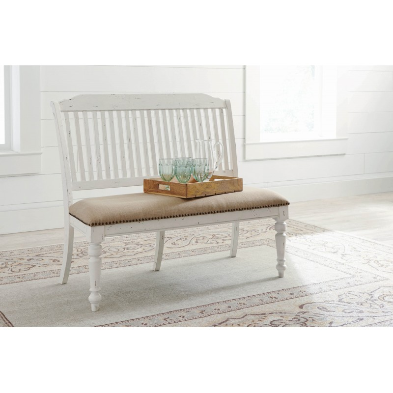 Simpson Slat Back Bench Vintage White