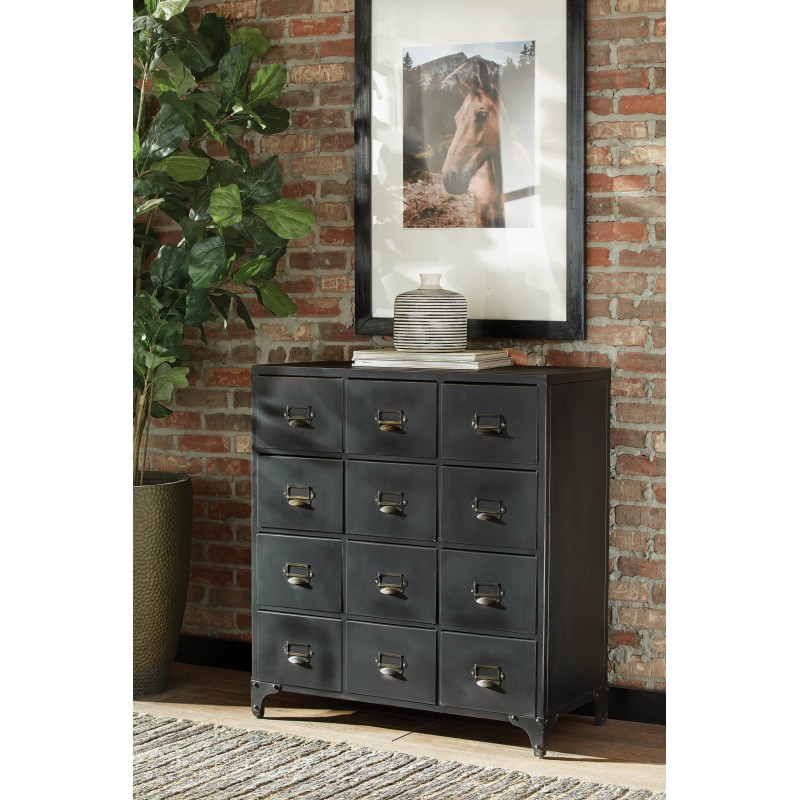 Scott Living Industrial Black Accent Cabinet