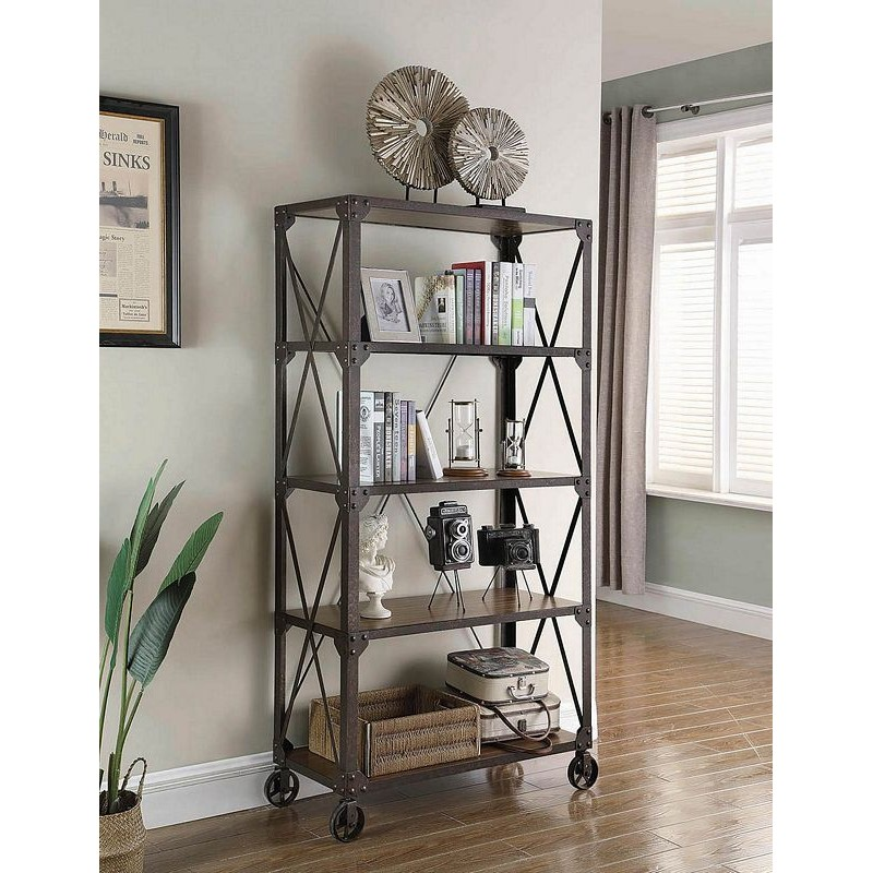 4-Tier Bookcase Tobacco And Weathered Gunmetal