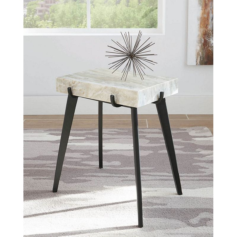 Contemporary White Marble Accent Table