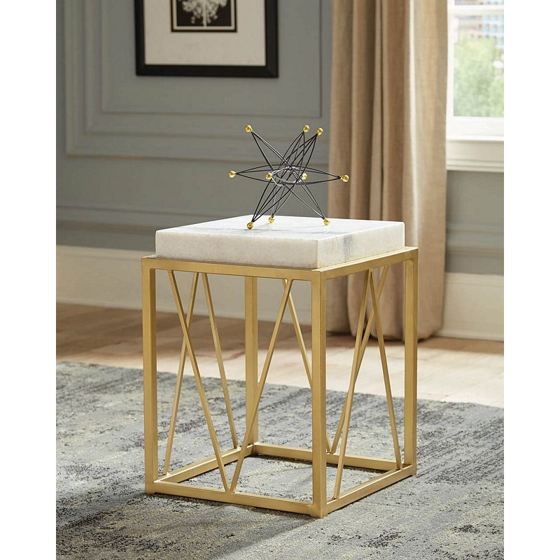 Square Accent Table White And Gold