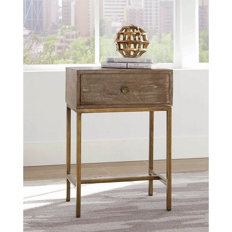 Rustic Whitewash Accent Table