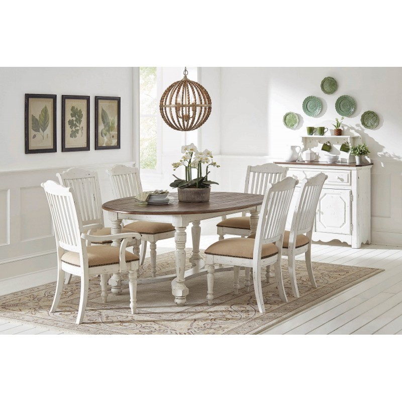 Simpson Oval Dining Table Vintage White And Latte