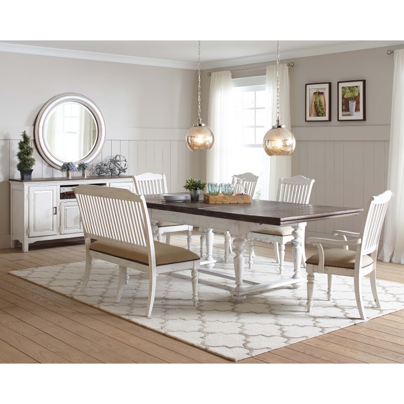 Simpson 5-Piece Rectangular Table Dining Set Latte And Vintage White
