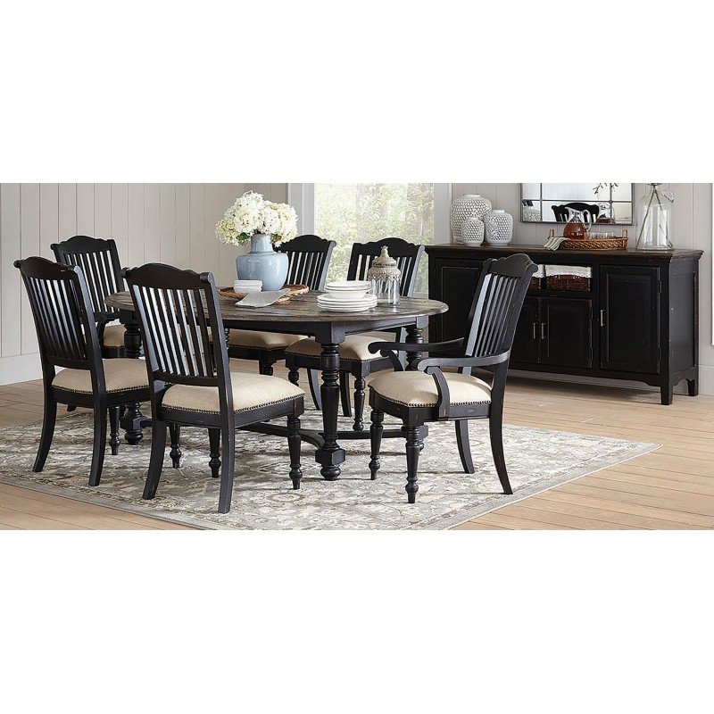 Simpson 5-Piece Oval Table Dining Set Latte And Vintage Black