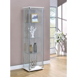 4-Shelf Curio Cabinet White And Clear
