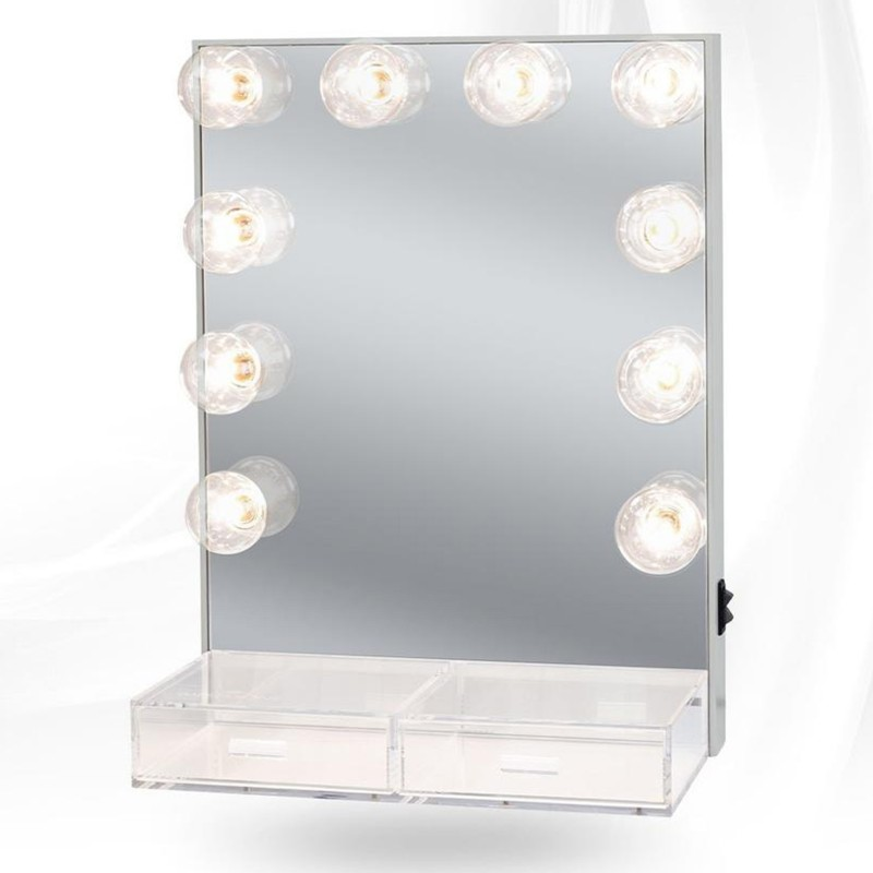 Hollywood Crystal Vanity Mirror With Acrylic Drawers