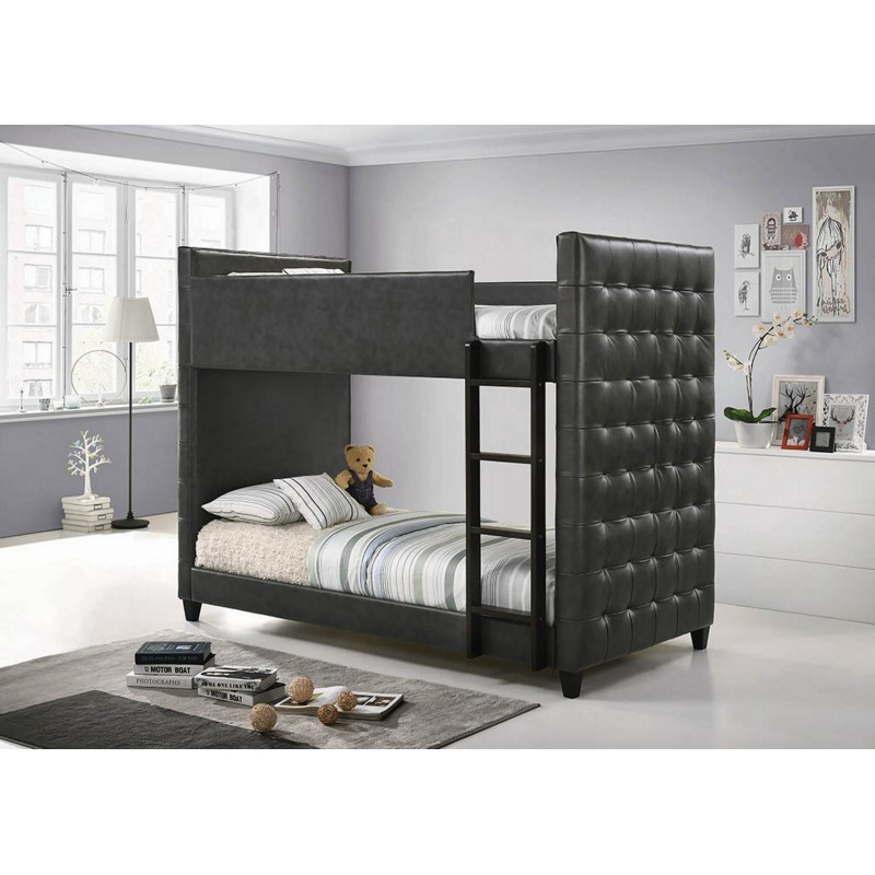 Helms Collection's Grey Upholstered Twin-Over-Twin Bunk Bed