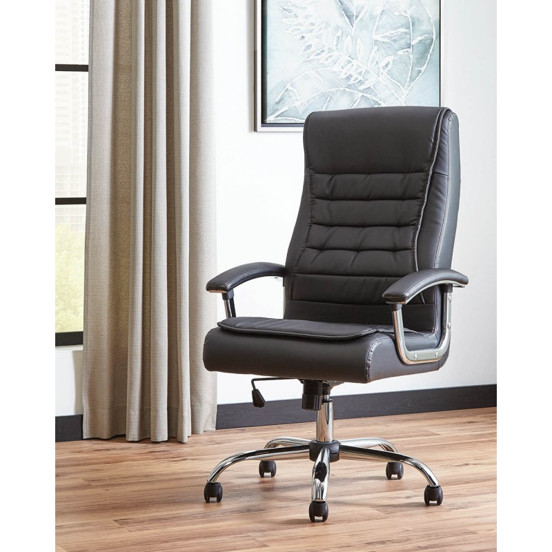 Scott Living Contemporary Black Faux Leather Office Chair