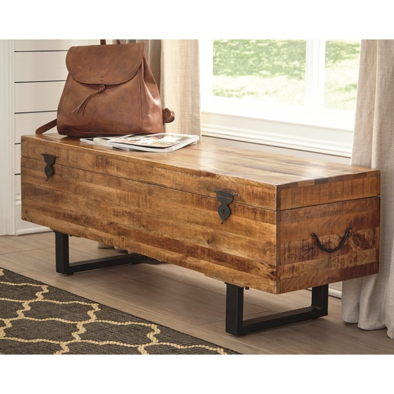 Scott Living Rustic Natural Storage Bench