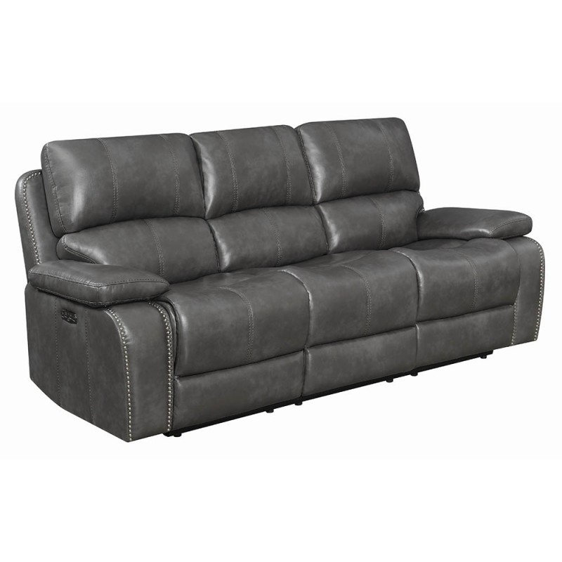 Ravenna 2-Piece & 3-Piece Power Recline With Power Headrest Living Room Set Charcoal