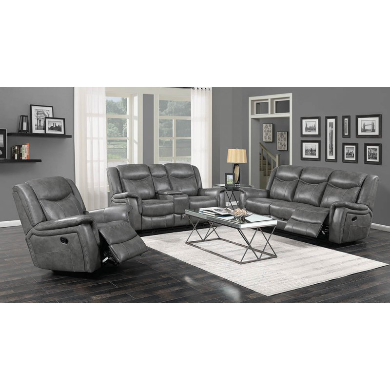 Conrad 2-Piece & 3-Piece Power Recline Living Room Set Cool Grey